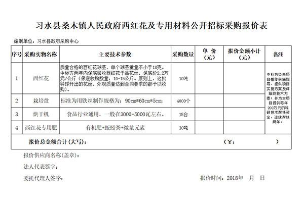 习水县桑木镇人民政府西红花及专用材料公开招标采购报价表