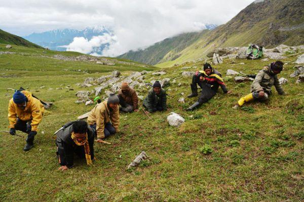 人们在喜马拉雅山西部北阿坎德邦阿斯果德地区采挖虫草