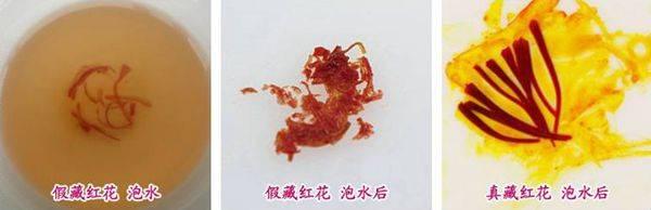 真藏红花和假藏红花泡水后的图片对比