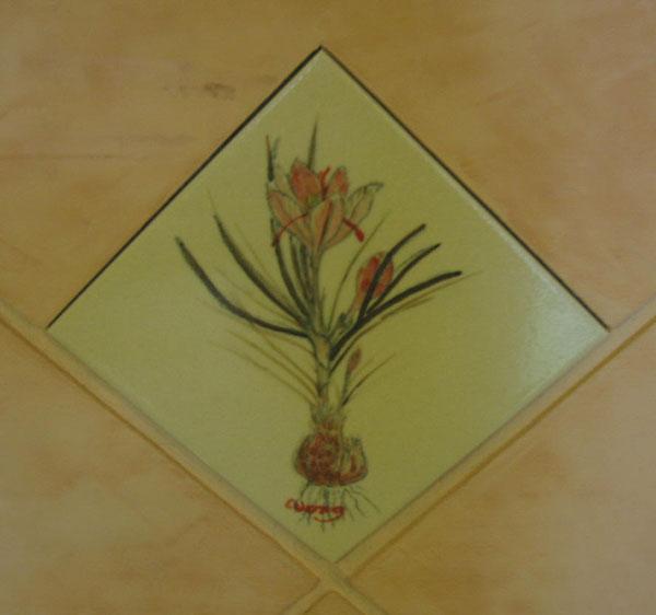番紅花陶磚畫