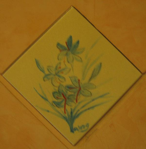 番红花陶砖画