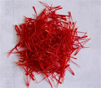 剛剝下的新鮮藏紅花花絲