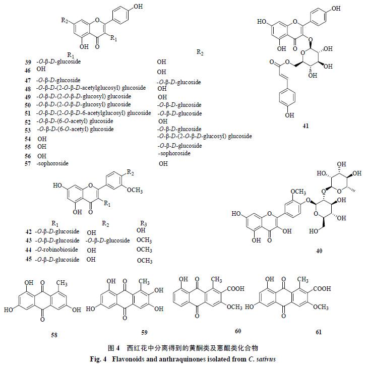 图4 西红花中分离得到的黄酮类及蒽醌类化合物