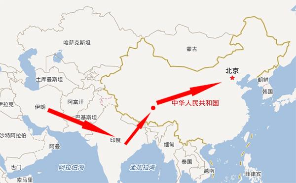 藏紅花從波斯地區經印度到西藏再轉入我國內地路徑示意圖