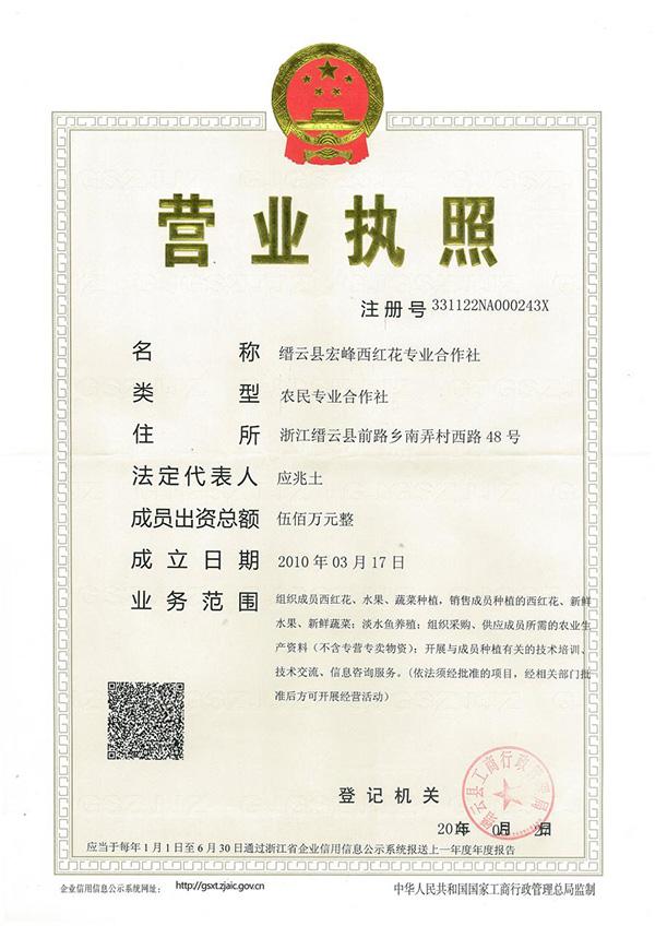 缙云县宏峰西红花专业合作社营业执照