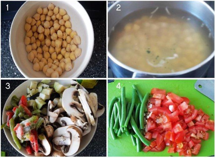 藏紅花蔬菜粥的做法第一步到第四步