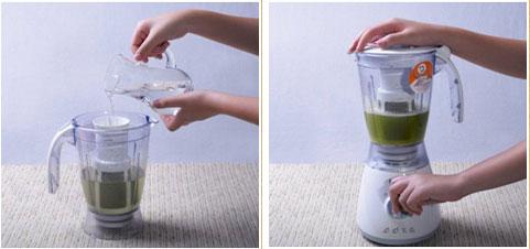 铁皮石斛放入榨汁机中加水
